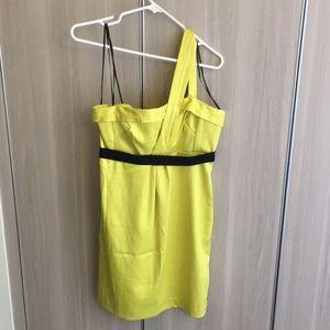 Neon yellow one shoulder dress